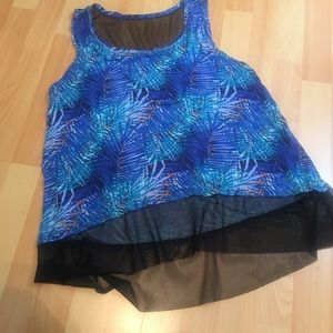 Tops - Multi Colored Blue Feather Top XL